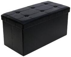 Pouf Coffre de Rangement gain de place Boîte Tabouret Pliable noir 76 x 38 x 38…