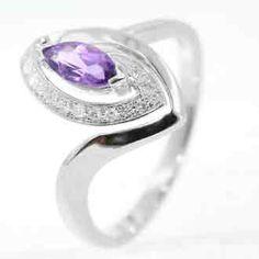 0.41 Carat Diamond Amethyst 14K White Gold Gemstone Rings 2.57g: Ring Size: Sizable