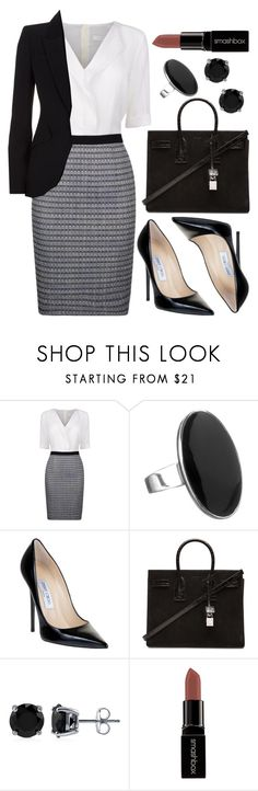 """Untitled #3623"" by natalyasidunova ❤ liked on Polyvore featuring BOSS Black, Simply Silver, Jimmy Choo, Yves Saint Laurent, BERRICLE, Smashbox and Alexander McQueen"