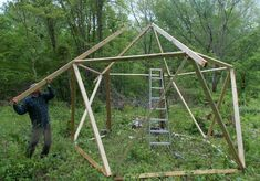 putting up roof frame on star plate building