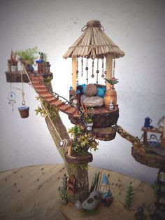 5 Floor TreeHouse for a Garden Gnome or by KimberlysDreamCraft
