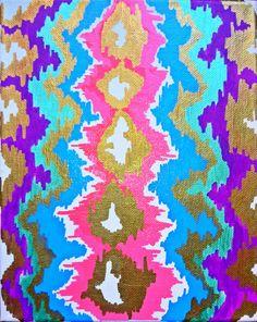 Colorful+Metallic+Ikat+Canvas+by+bkraftybybethany+on+Etsy,+$70.00