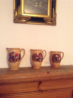 Jugs Beautiful Victorian Set Of 3 Jugs. Horse Design Jugs. Antique Jugs. by MerryLegsandTiptoes on Etsy
