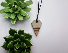 handmade concrete necklace with cork details