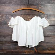boho chic off the shoulder crop top | white - shophearts - 1