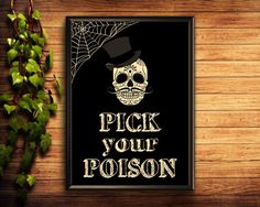 Pick Your Poison Halloween Printable Decor Halloween Wall Halloween Printable, Halloween Candy, Wedding Signs, Our Wedding, Barn Board Signs, Candy Signs, Halloween Frames, Pick Your Poison
