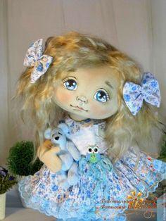 Купить Ладушка. Текстильная авторская интерьерная кукла - текстильная кукла, авторская кукла, голубой, русый