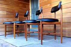A Set of Four Danish Dining Chairs by Koford Larsen with Black Vinyl Upholstery G Plan Furniture, Furniture Movers, Retro Furniture, Furniture Upholstery, Classic Furniture, Cheap Furniture, Kitchen Furniture, Furniture Design, Mid Century Chair