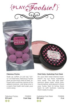 Some of our Play Footsie! products NEW - Pink Putty: Hydrating Foot Mask. #perfectly #posh