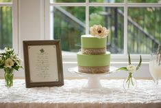 Two-tiered bridal shower cake | Caitlin Gerres Photography | http://mytrueblu.com/2016/03/24/lucky-in-love-bridal-shower/