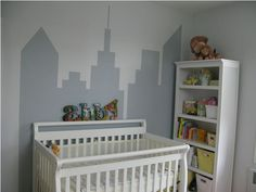 I borrowed this skyline and put it in the home office - easy with painters tape!
