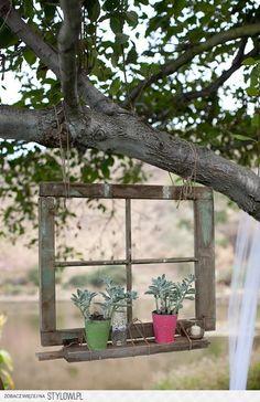 """ontzettend leuk, een oud raamkozijn, aan een boomtak hangen  en 2 plantjes""""voor het raam"""""""