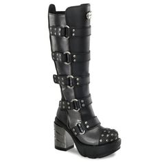 Amazon.com: 3 1/2 Inch Chunky Heel Women's Platform Boots With Buckles Studded Detail Gothic Boots: Shoes