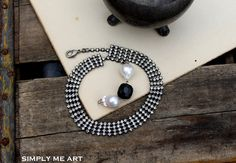 Vintage Rhinestone Onyx and Baroque Pearl Wrap by simplymeart, $70.00