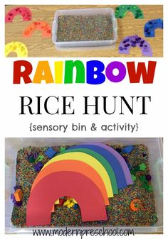 {includes free printable in post} www.m… Rainbow Rice Hunt sensory bin activity! {includes free printable in post} www. Preschool Weather, Preschool Colors, Preschool Centers, Preschool Lessons, Rainbow Activities, Spring Activities, Color Activities, Preschool Activities, Therapy Activities