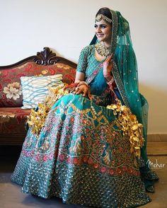 Bridal heavy embroidery lehenga choli in heavy payor nailon sillk. Quality is worth paying Indian Bridal Outfits, Indian Bridal Lehenga, Indian Dresses, Pakistani Bridal, Pakistani Outfits, Bridal Looks, Bridal Style, Bridal Lehngas, Muslim Wedding Dresses