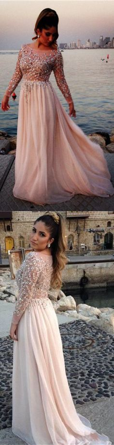 Long Sleeves Crystals Prom Dresses