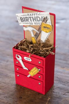 Jon celebrated his birthday recently, and this is what my artist created for his packaging. Handy with all kinds of tools, he just finished a bathroom in their home, but what he's really good at building is cool industrial furniture!