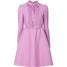 Valentino shirt dress ($2,960) ❤ liked on Polyvore featuring dresses, purple, pink shirt dress, valentino dress, button front shirt dress, pink long sleeve dress and long shirt dress