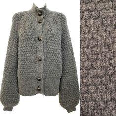 fd164019ce COACH Cardigan Sweater Mohair Chunky Knit Grey Logo Button Balloon Sleeve  Bell  Coach  Cardigan  Work