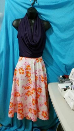 Cowl neck blouse & circular midi skirt!