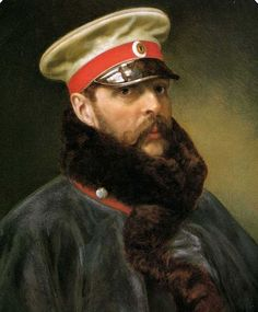 monsieurlabette:  Portrait  of Tsar Alexander II of Russia, wearing the greatcoat and cap of the Imperial Horse-Guards Regiment, circa 1865