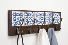 """ – dark brown oak wood & hand made tiles Azulejo Coat Rack ""Bom dia!"" – dark brown oak wood & hand made tiles Furniture Projects, Wood Projects, Diy Furniture, Industrial Furniture, Ceramic Tile Crafts, Tile Art, Wood And Metal, Wood Crafts, Home Accessories"