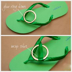 10 DIY Flip Flops Ideas, The green are ugly, but the rest are pretty cute. Gold Diy, Flip Flop Shoes, Flip Flops, Fashion Diva Design, Flip Flop Craft, Shoe Crafts, Diy Clothing, Ciabatta, Refashion