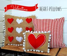 valentine heart and pom pom pillows via @Jennifer Milsaps L Hadfield