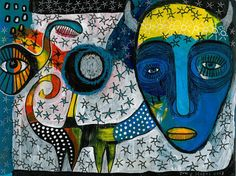 SHIFT - an original mixed media artwork - contemporary folk art - outsider art - expressionist