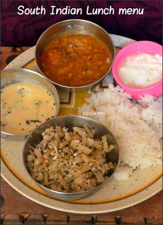 South Indian Lunch menu (simple)-2 http://www.upala.net/2015/04/south-indian-lunch-menu-simple-2.html