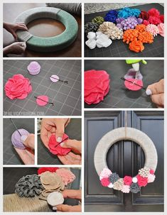DIY Interchangeable Felt Flower Wreath - Change the colors for any season! - Great fall wreath - Step by step instructions
