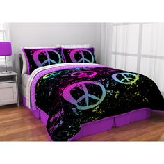 Peace Paint Sign Reversible Bed in a Bag Washable Comforter Set - Walmart.com