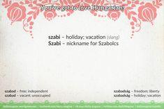 szabi [ˈsɑbi] – holiday; vacation (slang)  Szabi [ˈsɑbi] – nickname for Szabolcs   szabad [ˈsɑbɑd]  1) free; independent  2) open; vacant; unoccupied   szabadság [ˈsɑbɑtʃːaːɡ]  1) freedom; liberty  2) holiday; vacation