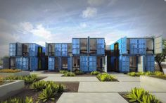 light blue container apartments