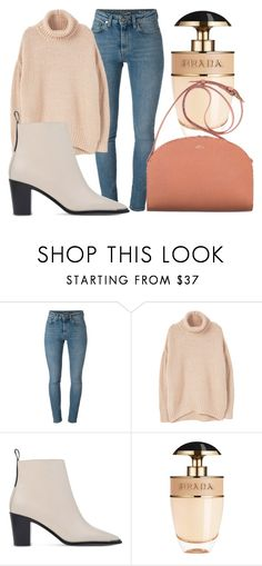 """""""shoutout to my ex"""" by lucieednie ❤ liked on Polyvore featuring Yves Saint Laurent, MANGO, Acne Studios, Prada and A.P.C."""