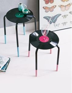 furniture from repurposed items | Old gramophone records can now celebrate a glamorous comeback as side table