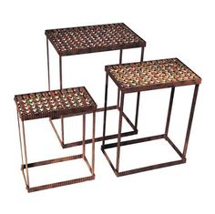 Pop art bottle cap metal side table pedestals set of 3 - industrial - side tables and end tables - by xoticbrands home decor Metal Accent Table, Metal Side Table, Bottle Cap Table, Bottle Art, Beer Bottle, Bottle Cap Projects, Classic Furniture, Unique Furniture, Bars For Home