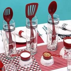 kitchen bridal shower theme fill vases fuller with other utensils use as favors for