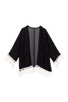 Black Feather Lace Trim Kimono (Baby, Toddler, & Little Girls) by Million Polkadots on @HauteLook