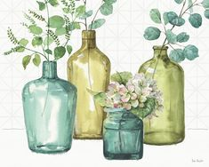 Ophelia & Co. 'Mixed Greens LXII' Watercolor Painting Print on Canvas Size: H x W x D, Format: Wrapped Canvas Watercolor Drawing, Watercolor Paintings, Canvas Paintings, Painting Prints, Fine Art Prints, Bathroom Artwork, Canvas Wall Art, Canvas Prints, Room Decor