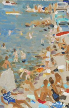 """ The Beach - Pierre Lelong French, 1908-1984 Oil on canvas, 32 x 22 cm """