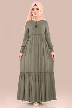ELBİSE Büzgülü Tesettür Elbise BH2353 Haki
