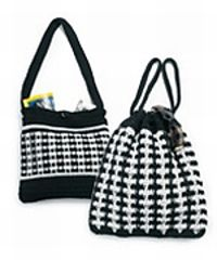 Patterns for two black-and-white bags, one with a drawstring, the other with a shoulder strap.