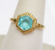 10 kt Art Deco Synthetic Blue Zircon December Hexagon Cut BirthstoneHand Carved Ring Yellow Gold
