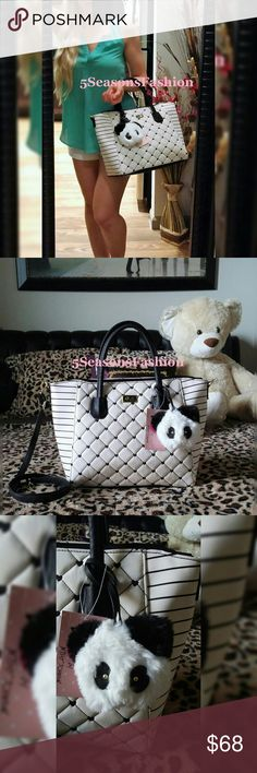 "BETSEY JOHNSON Striped HEARTS Bag PANDA Charm FOB BRAND NEW WITH TAGS! Edgy handbag from Betsey Johnson. Summer white with black stripes and quilted hearts design. Winged style satchel. Comes with a removable shoulder strap and fuzzy panda key charm/purse fob 💕 SO CUTE!!! Luv Betsey collection signature striped liner. FAUX LEATHER PVC material. Size LARGE Measures 17""Lx11""Hx6""D. MATCHING Crossbody/Wallet available for sale. BUNDLE TO SAVE 🌸 Betsey Johnson Bags Satchels"