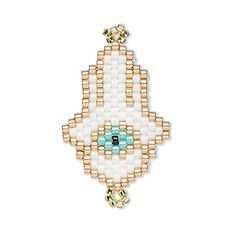 Link, Creative Touch, glass, multicolored, Fatima hand with evil eye design.