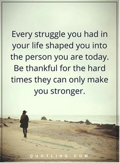 Life Lessons Every struggle you had in your life shaped you into the person you are today. Be thankful for the hard times they can only make you stronger.