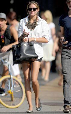 Classic white shirt, shorts and big baubles via Olivia Palermo