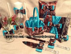 Hey, I found this really awesome Etsy listing at http://www.etsy.com/listing/125674537/camo-and-teal-satin-wedding-set-entire